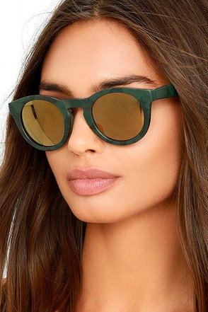 See What I Did There? Gold and Green Sunglasses at Lulus.com!