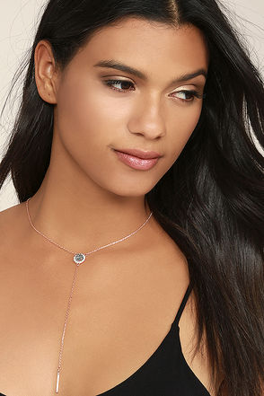 Infinite Inspiration Rose Gold and Grey Drop Necklace at Lulus.com!