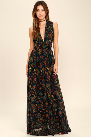 Potpourri Navy Blue Floral Print Maxi Dress at Lulus.com!