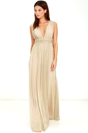What a Treat Gold Maxi Dress at Lulus.com!