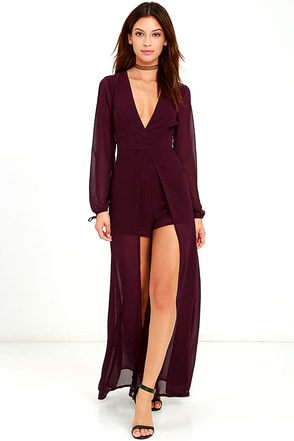 Gone With the Whirlwind Plum Purple Romper at Lulus.com!