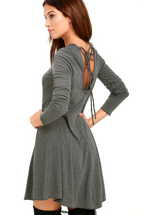 Olive & Oak Pardon Me Grey Long Sleeve Dress at Lulus.com!