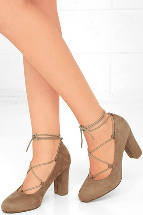 Sway to Go Black Suede Lace-Up Heels at Lulus.com!