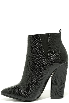Way Wild Black Croc High Heel Ankle Booties at Lulus.com!
