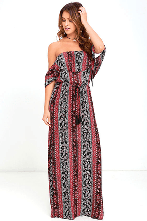 Sunny Stunner Red Print Off-the-Shoulder Maxi Dress at Lulus.com!