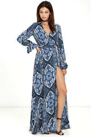 La Paz Blue Print Wrap Maxi Dress at Lulus.com!