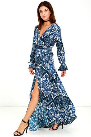 La Paz Blue Print Wrap Maxi Dress at Lulus.com!