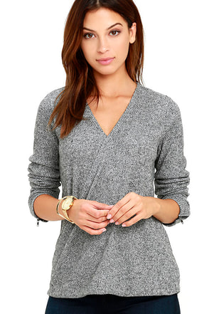 Olive & Oak Homemade Marshmallows Grey Wrap Top at Lulus.com!