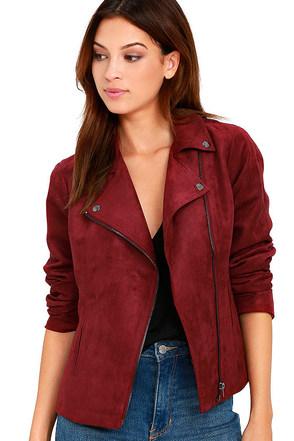 Olive & Oak Highly Desired Wine Red Suede Moto Jacket at Lulus.com!