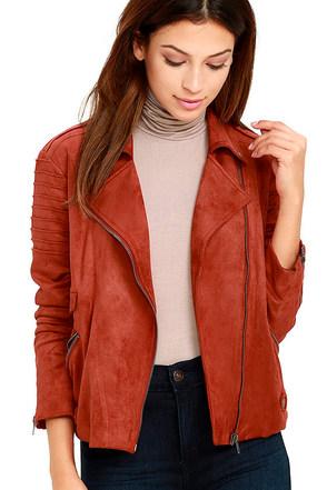Mink Pink Now or Never Rust Orange Suede Jacket at Lulus.com!