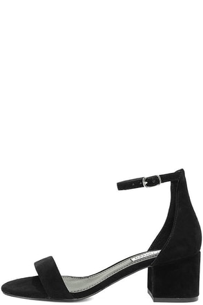 Steve Madden Irenee Black Suede Leather Ankle Strap Heels at Lulus.com!