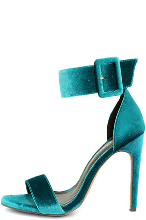 Love and Luck Teal Velvet Ankle Strap Heels at Lulus.com!