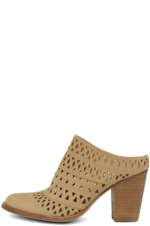 Steve Madden Harmony Tan Nubuck Leather Cutout Mules at Lulus.com!