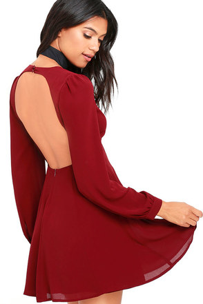 How Sweet Wine Red Long Sleeve Dress at Lulus.com!