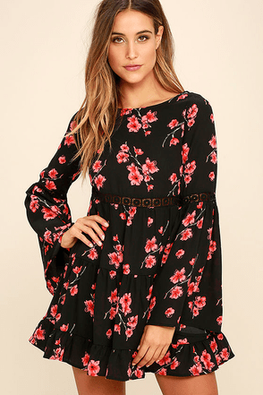 Dearly Bell-loved Black Floral Print Long Sleeve Dress at Lulus.com!