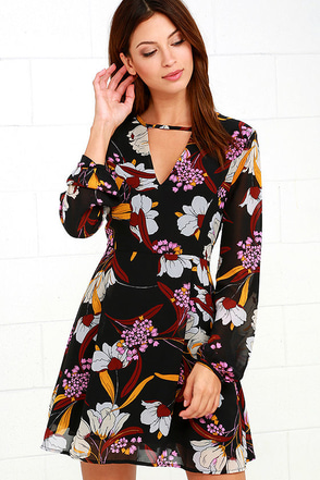 Mink Pink Lost In Paradise Black Floral Print Dress at Lulus.com!