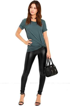 Rock Music Black Vegan Leather Leggings at Lulus.com!