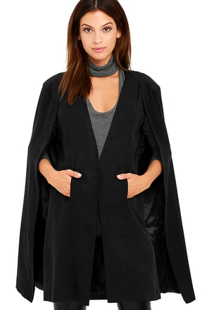 Mink Pink Girl Boss Washed Black Cape at Lulus.com!