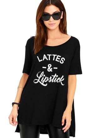Lattes and Lipstick Black Tee at Lulus.com!