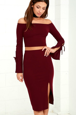 Bold Move Burgundy Off-the-Shoulder Two-Piece Dress at Lulus.com!