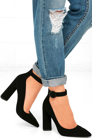 Kendall + Kylie Gloria Black Suede Leather Heels at Lulus.com!