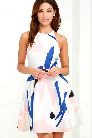 Elliatt Headway Ivory Print Skater Dress at Lulus.com!