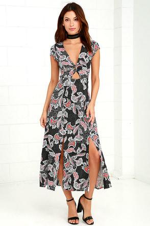 Mink Pink Fleetwood Black Print Midi Dress at Lulus.com!