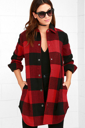 BB Dakota Olive Red Plaid Coat at Lulus.com!