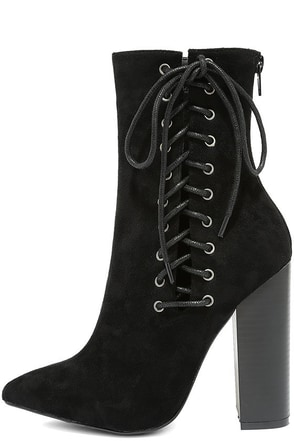 This is It Black Suede Lace-Up Mid-Calf Boots at Lulus.com!