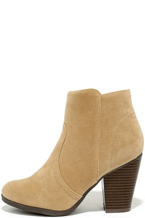 Aubrey Beige Suede Ankle Booties at Lulus.com!