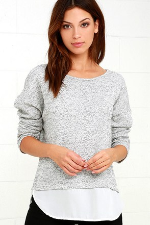 Keep Me Company Grey Sweater Top at Lulus.com!