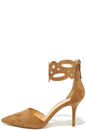 Daya by Zendaya Kanona Sand Suede Ankle Strap Heels at Lulus.com!