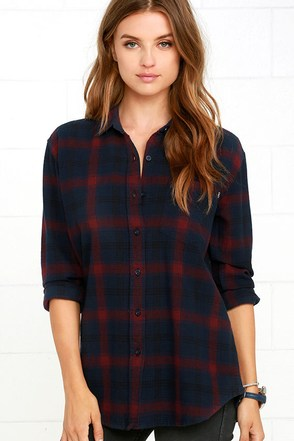 Obey Montague Navy Blue Plaid Button-Up Top at Lulus.com!