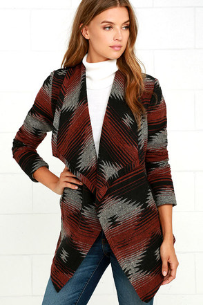 Jack by BB Dakota Ruthwood Rust Red Southwest Print Coat at Lulus.com!