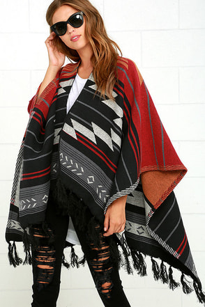 Billabong Seaside Voyage Red Southwest Print Poncho at Lulus.com!