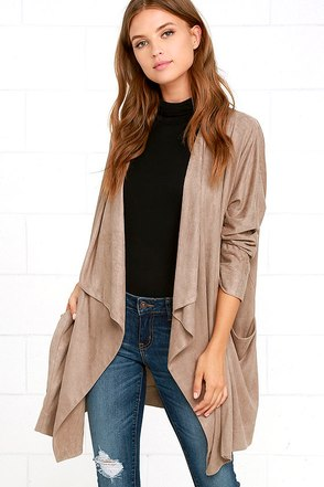 Dream Day Taupe Suede Jacket at Lulus.com!