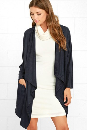 Dream Day Navy Blue Suede Jacket at Lulus.com!