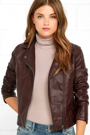 Jack by BB Dakota Marbella Burgundy Vegan Leather Jacket at Lulus.com!