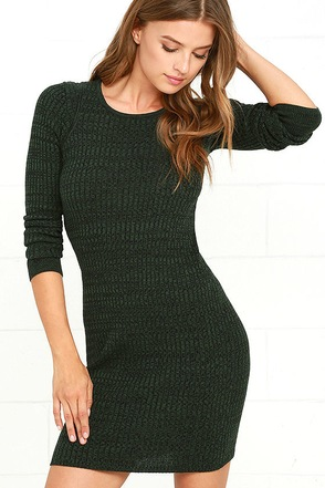 Obey Hanna Dark Green Long Sleeve Bodycon Dress at Lulus.com!