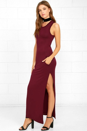 Shield and Sword Burgundy Sleeveless Maxi Dress at Lulus.com!