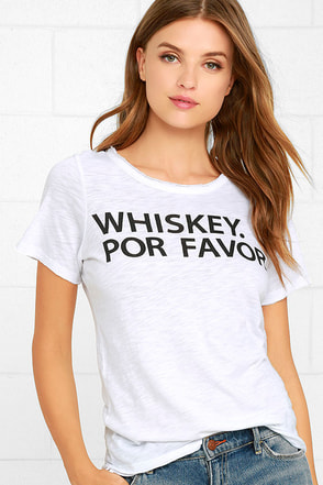 Chaser Whiskey Por Favor Distressed White Tee at Lulus.com!