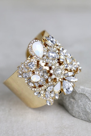Dreamt of This Gold Rhinestone Cuff Bracelet at Lulus.com!