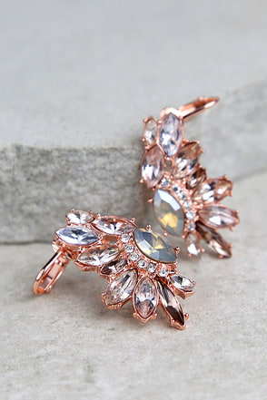 Sprite Night Rose Gold Rhinestone Ear Cuffs at Lulus.com!