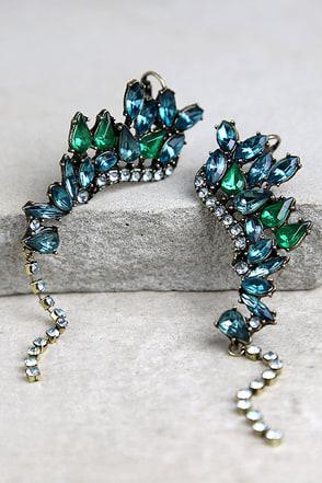 Ocean's Jewels Blue and Green Rhinestone Ear Cuffs at Lulus.com!