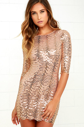 Star Dust Gold Sequin Bodycon Dress at Lulus.com!