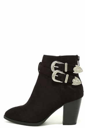 Kick it Up Black Suede Ankle Booties at Lulus.com!