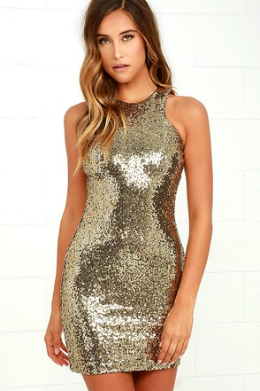 Shining Splendor Gold Sequin Bodycon Dress at Lulus.com!