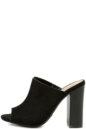 Your Grace Black Suede Peep-Toe Mules at Lulus.com!