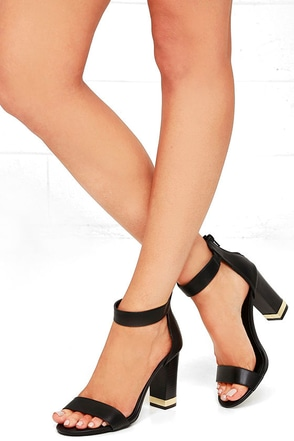 Lavish and Lovely Black Ankle Strap Heels at Lulus.com!