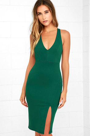 Gathering Glances Forest Green Bodycon Dress at Lulus.com!